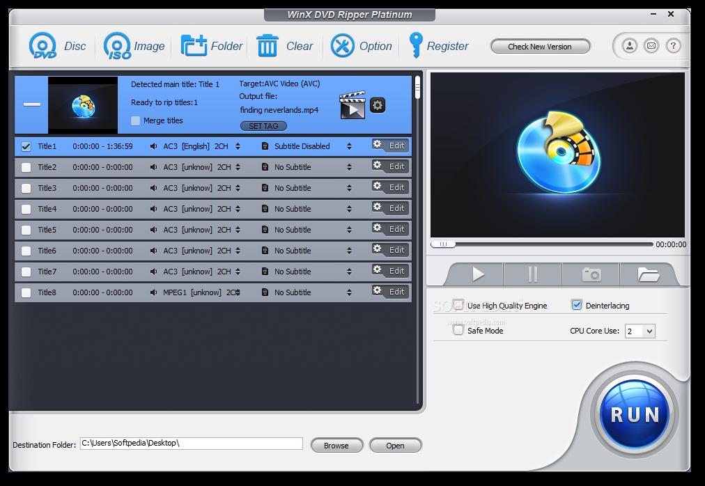 WinX DVD Ripper Platinum 8.9.0 Crack